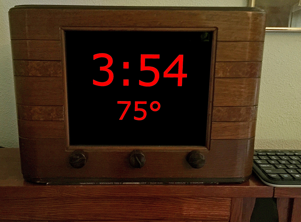 old radio converted into a bedroom clock using a raspberry pi zero
